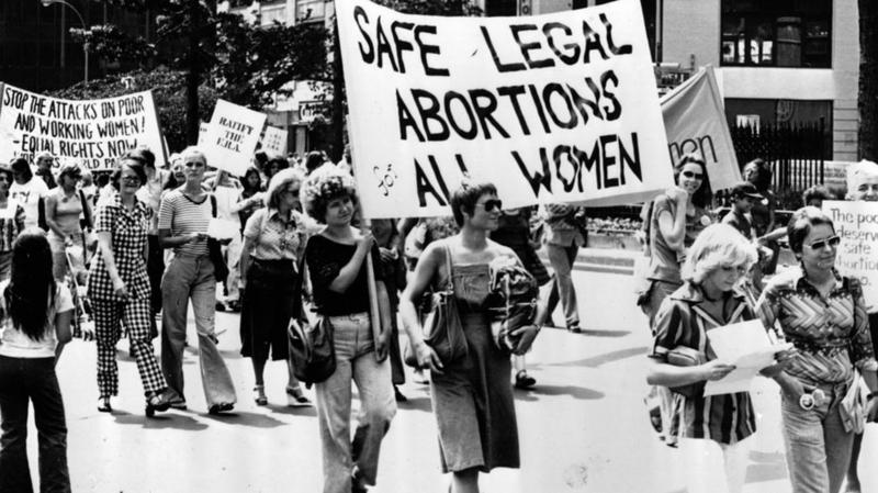 Women take part in a 1977 demonstration in New York City demanding safe and legal abortions for all women.