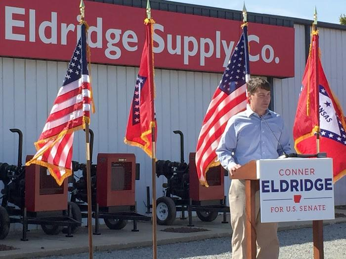 File photo: Former US Attorney Conner Eldridge formally launching his US Senate campaign from his family store in Augusta.