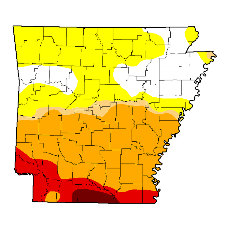 Arkansas Drought Map for October 15th, 2015