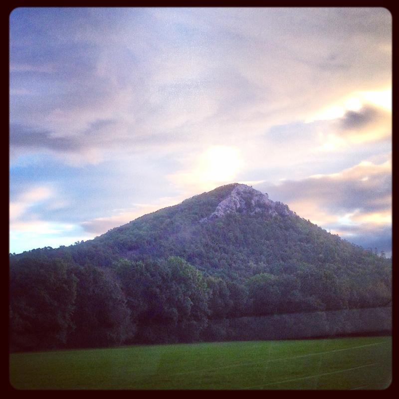 Sunrise behind Pinnacle Mountain