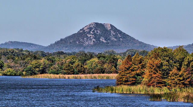Pinnacle Mountain as seen from the Little Maumelle River