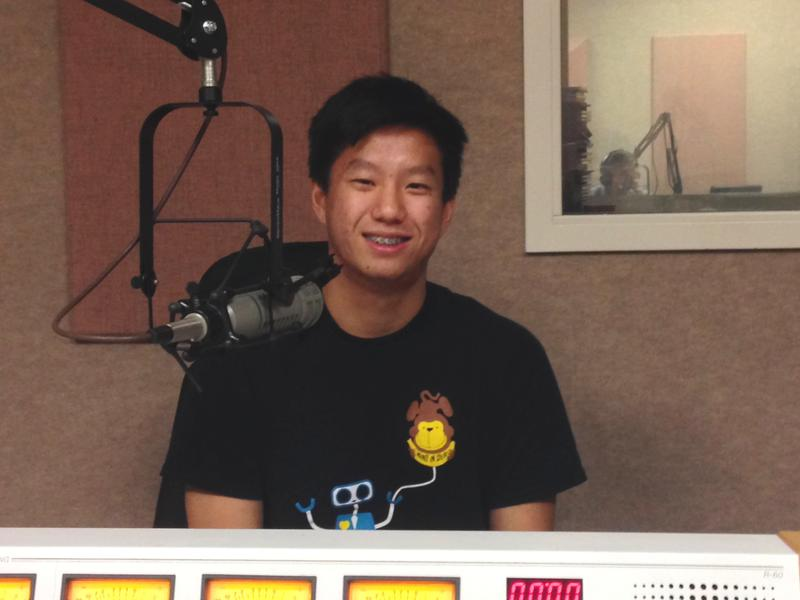 """David Xiang at KUAR talking about his poem """"Duet."""""""