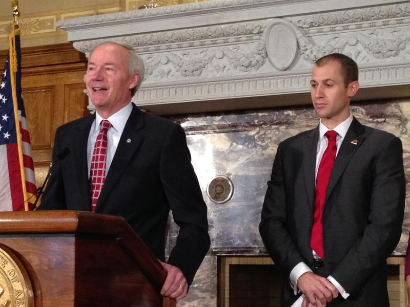 File photo: Governor Asa Hutchinson and Arkansas Economic Development Commission director Mike Preston.
