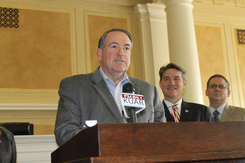 Former Arkansas Governor Mike Huckabee at the state Capitol in November 2015.