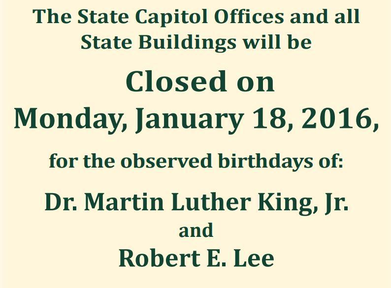 Part of a public notice printed by the Arkansas Secretary of State's office observing Martin Luther King and Robert E. lee Day.