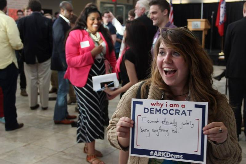 UALR student Alexis Williams at a Young Democrats rally