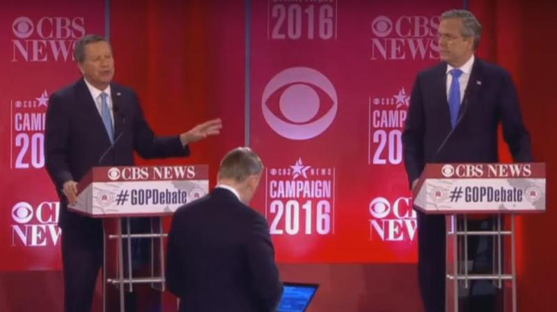 John Kasich and Jeb Bush debating in South Carolina on Feb. 13 (left to right).