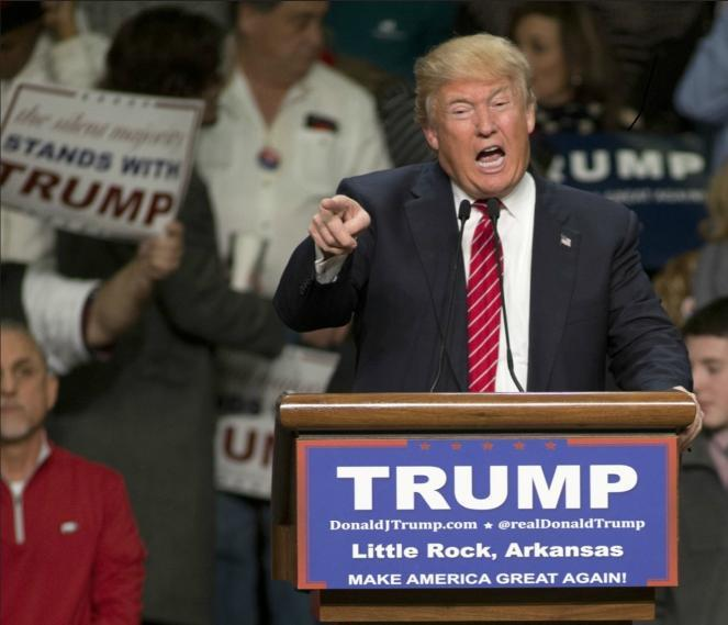 Donald Trump speaking at Barton Coliseum in Little Rock, Arkansas.