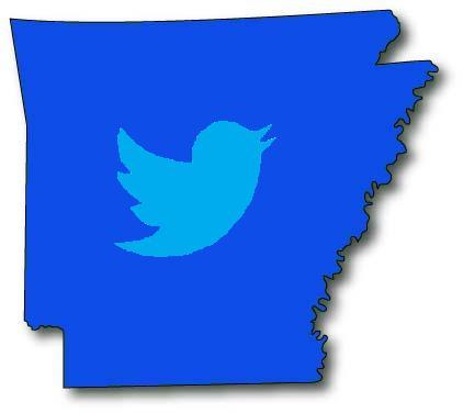 The twitter logo superimposed on an undetailed map of the state of Arkansas.