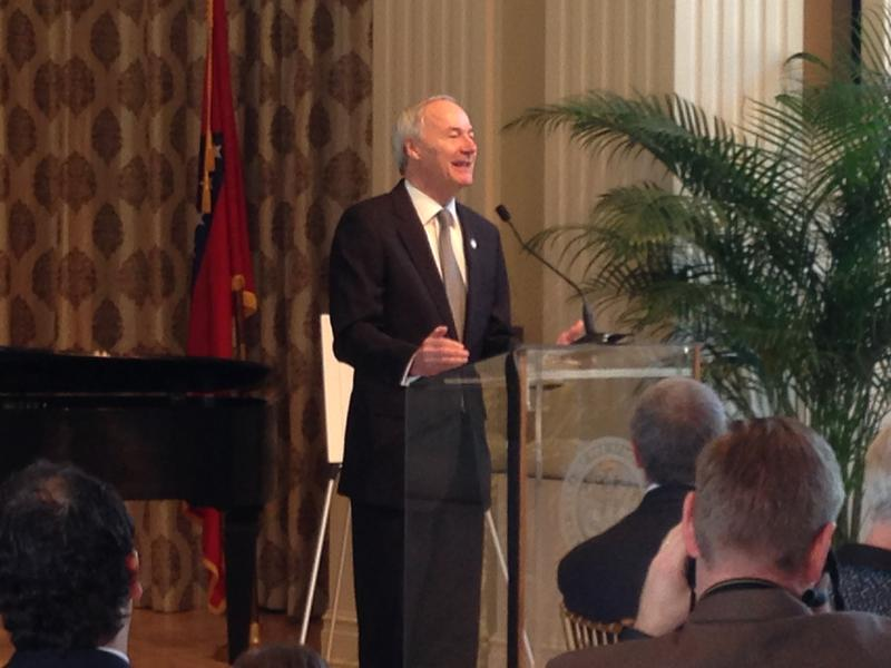 File photo. Gov. Asa Hutchinson (R) speaking to the Political Animals Club at the Governor's Mansion in Little Rock.