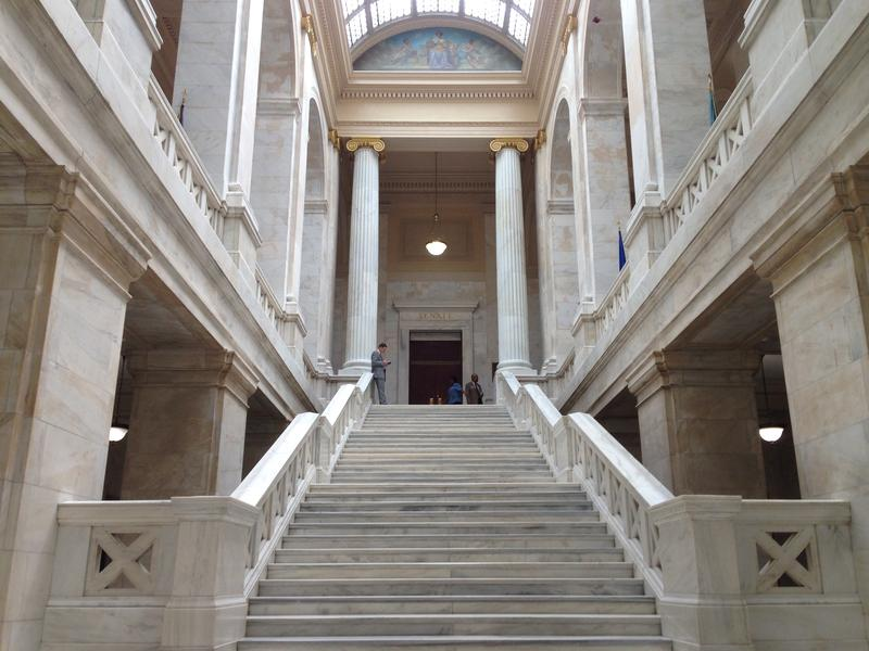 Steps leading up the Arkansas Senate chamber.