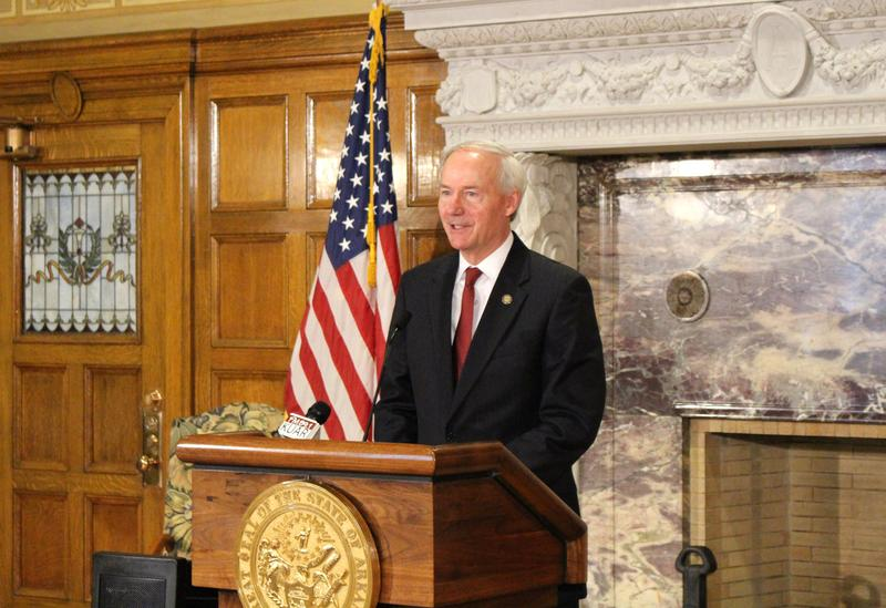 File photo. Gov. Asa Hutchinson (R) speaking to reporters after addressing the Arkansas General Assembly at the beginning of a special session.