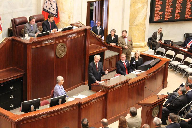 Gov. Asa Hutchinson addressing lawmakers at the start of a special session on highway funding.