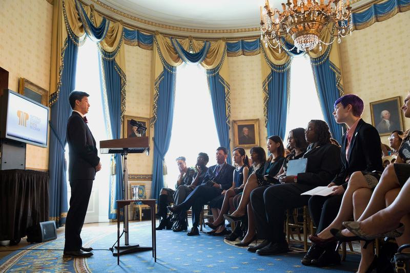 David Xiang at the White House after being awarded the nation's highest honor for student poets.