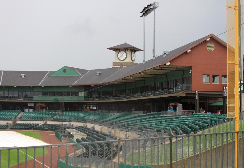 Looking down the left field line of Dickey-Stephens Park in North Little Rock.