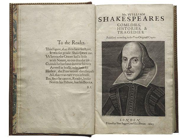 Shakespeare's First Folio published in 1623.
