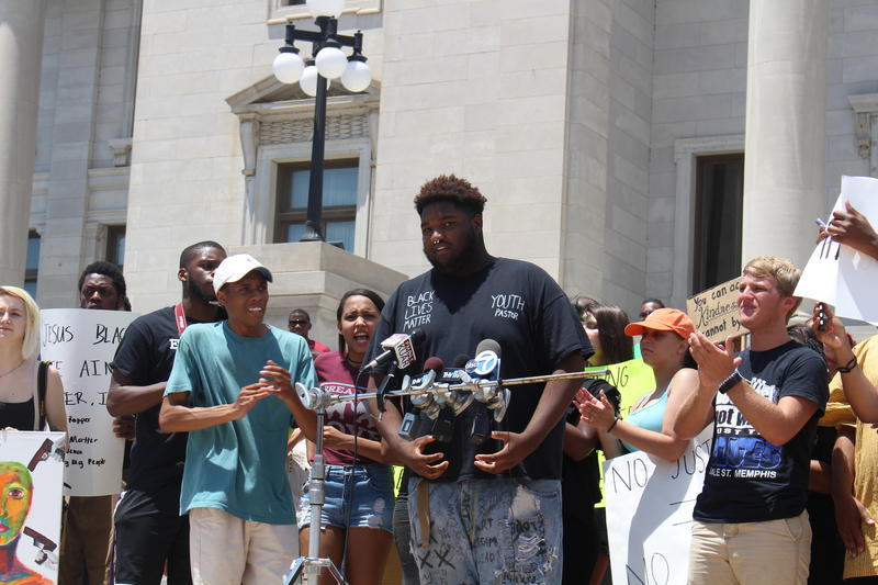 Arkansas Baptist College student Zachary Mitchell speaking at the rally calling for accountability in police departments for excessive use of force.