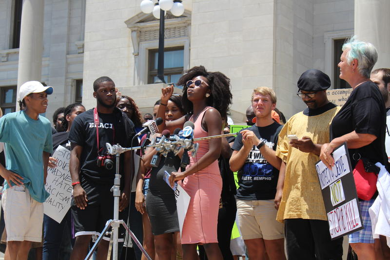 Supporters of the Black Lives Matter movement on the steps of the state Capitol.