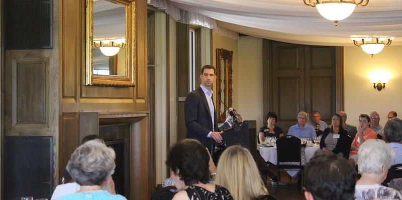 U.S. Senator Tom Cotton (R-AR) speaking to the Political Animals Club at the Pleasant Valley Country Club in Little Rock (file photo 2016).