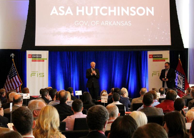 Gov. Asa Hutchinson (R) speaking at the FinTech Accelerator Gloval Investor Demo Day at the Clinton Presidential Library in Little Rock.