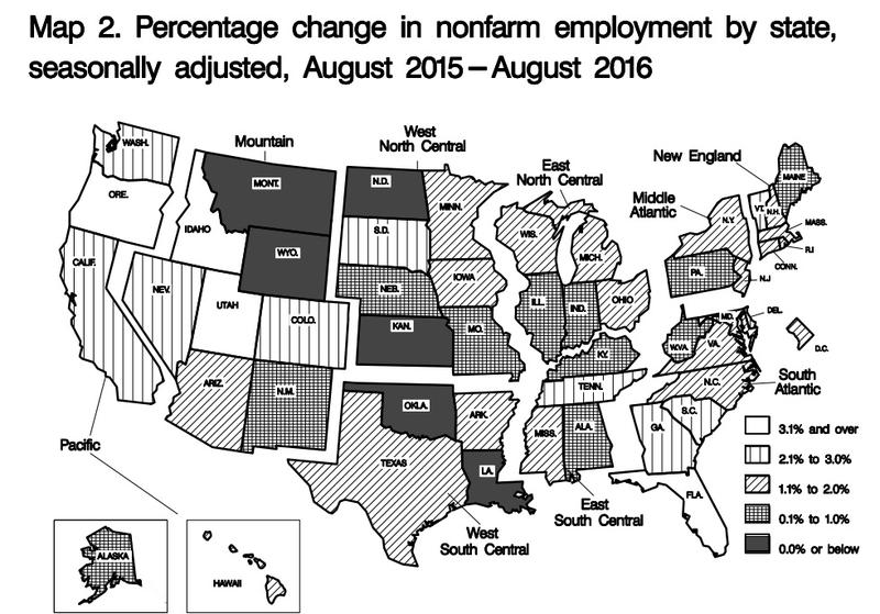 Map of unemployment rate change from August 2015 to August 2016.