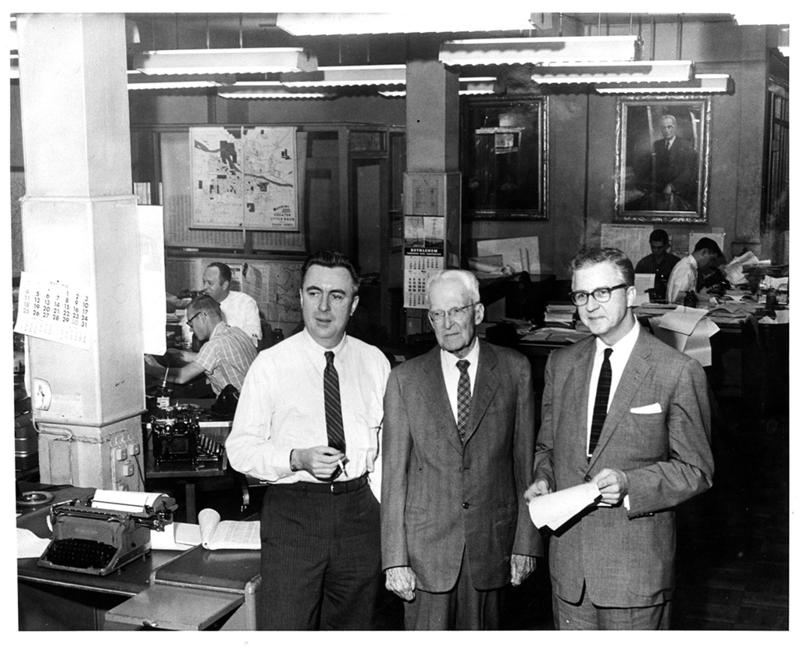From left: executive editor Harry Ashmore, J.N. Heiskell, and publisher Hugh Patterson in 1958. This photo was taken the same year the paper won Pulitzer Prizes for public service and for its editorial stance during the 1957 Little Rock Integration Crisis