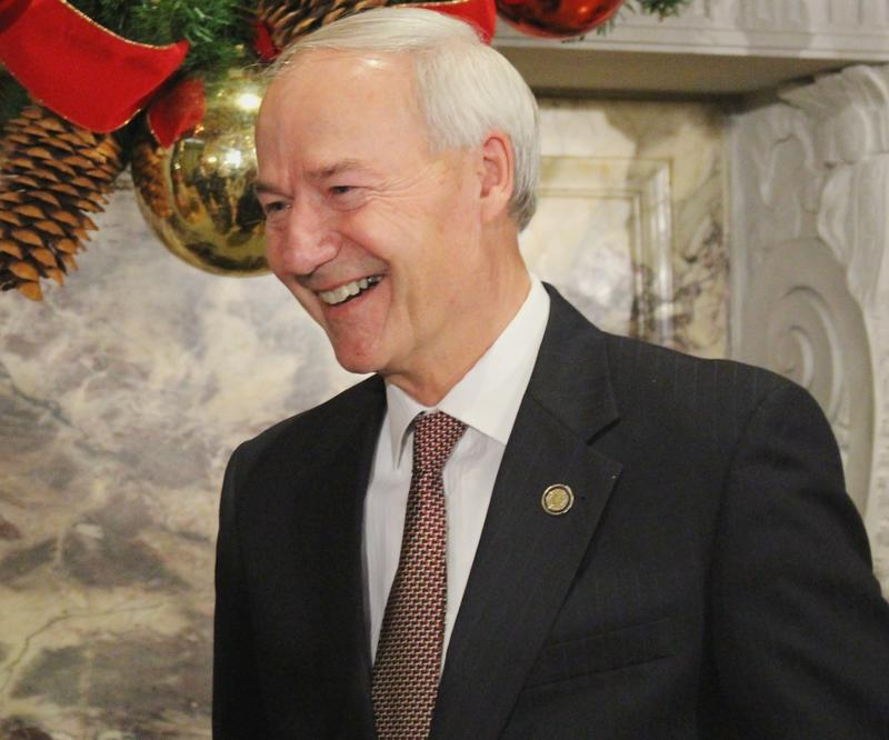 Gov. Asa Hutchinson (R) at the state Capitol on Monday.