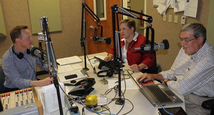 KUAR's Michael Hibblen, Gwen Moritz of Arkansas Business, and political science professor Hal Bass.