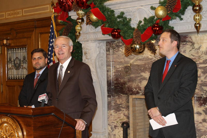 Senate President Pro Tem Jonathan Dismang, Gov. Asa Hutchinson and House Speaker Jeremy Gillam