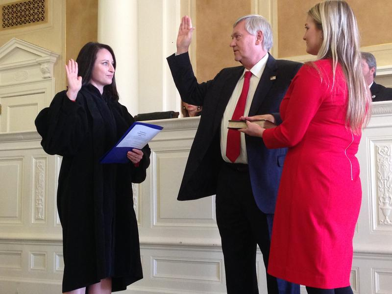 Arkansas Supreme Court Justice Rhonda Wood swearing in Elector Jonathan Barnett in the Old Supreme Court room at the state Capitol building on Monday.