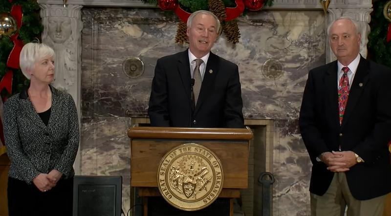 Governor Asa Hutchinson, DHS Director Cindy Gillespie and DFA Director Larry Walther