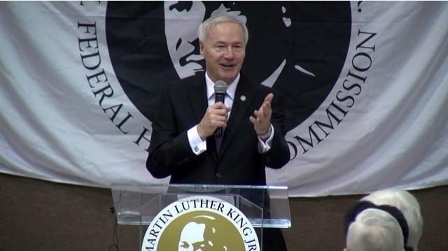 Gov. Asa Hutchinson (R) addressing the Martin Luther King Jr. breakfast at St. Mark's Baptist Church in Little Rock.