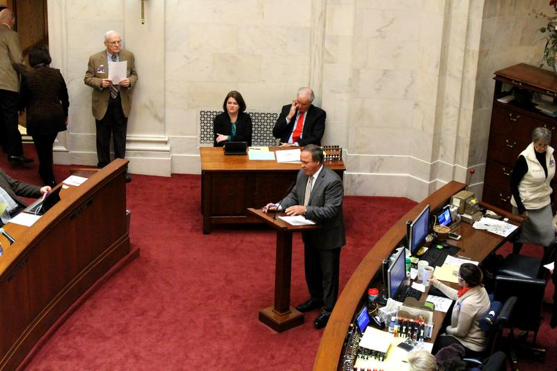 State Sen. Gary Stubblefield (R-Branch) presenting his bill on the Senate floor.