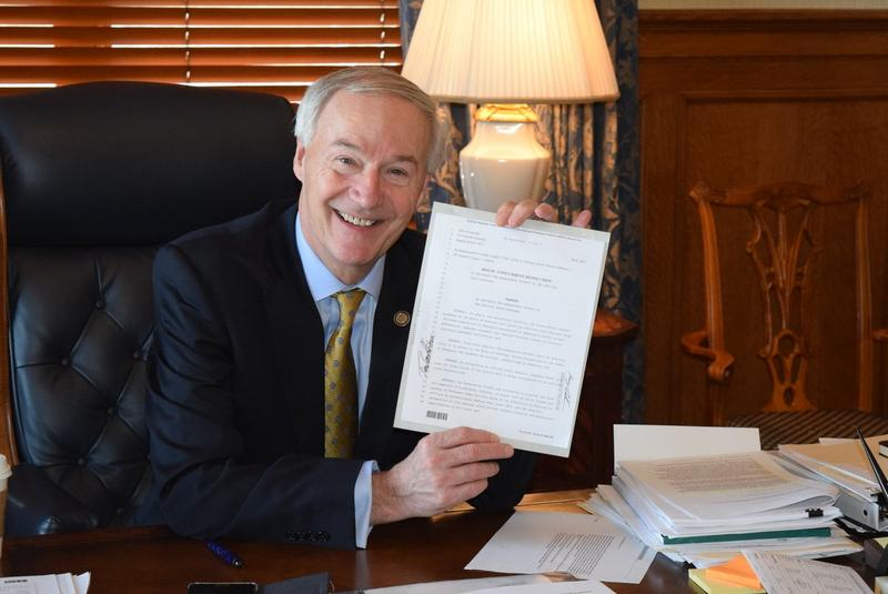 Governor Asa Hutchinson signed bill dinosaur