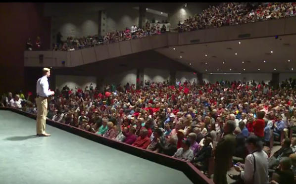 U.S. Senator Tom Cotton (R) holding his first town hall of the Trump administration in Springdale earlier this year.