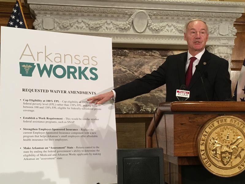 File photo: Gov. Asa Hutchinson presenting part of his Arkansas Works plan, the state's version of Medicaid expansion.