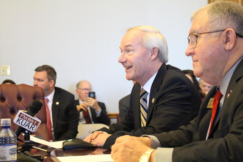 Gov. Asa Hutchinson and State Senator David Wallace (R-Leachville) presenting the MLK/Lee Day bill in committee.