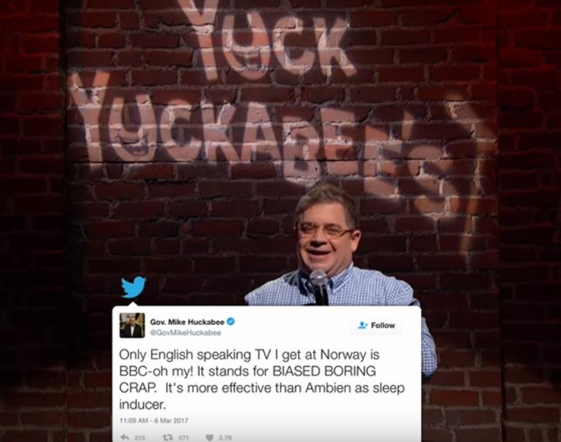 Comedian Patton Oswalt making fun of former Arkansas Governor Mike Huckabee on Jimmy Kimmel Live.