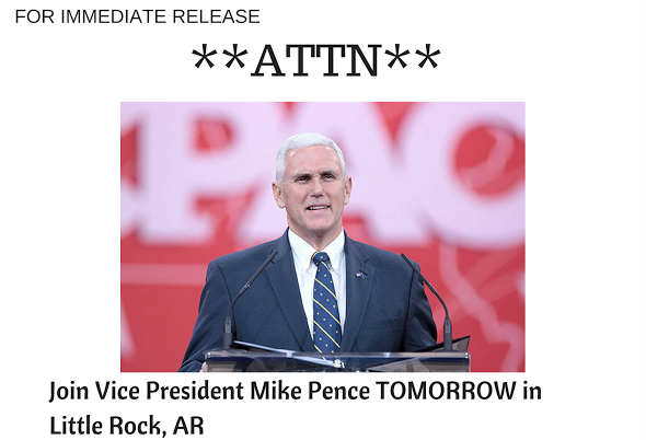 Vice President Mike Pence is visiting Little Rock.