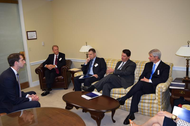 U.S. Senator Tom Cotton (R) meeting with members of the Arkansas Hospital Association before the Senate plan was released.