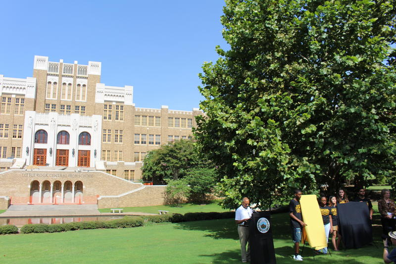 Little Rock City Manager Bruce Moore speaks in front of Central High School on Wednesday.