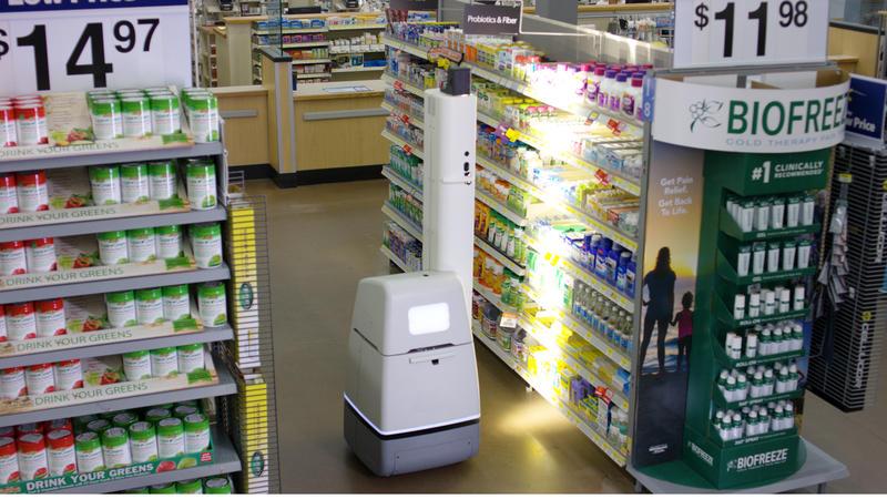 A robot scanning a Walmart store shelf.