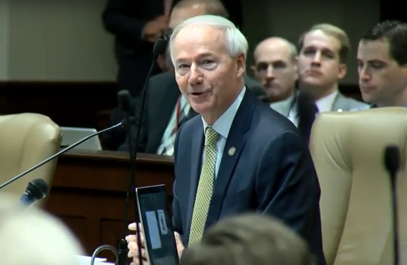 Gov. Asa Hutchinson presenting his proposed budget for fiscal year 2019 Tuesday to the Joint Budget Committee of the Arkansas Legislature.