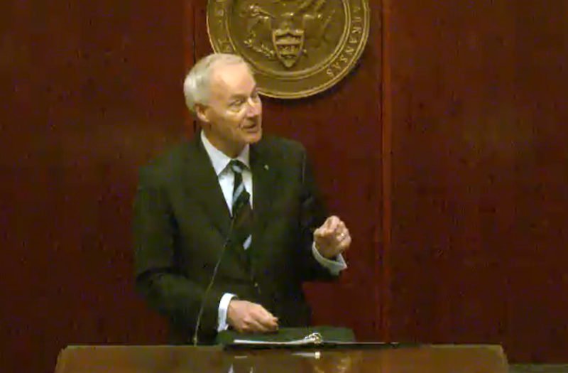 Gov. Asa Hutchinson giving his State of the State address to Arkansas lawmakers at the start of the fiscal session Monday.