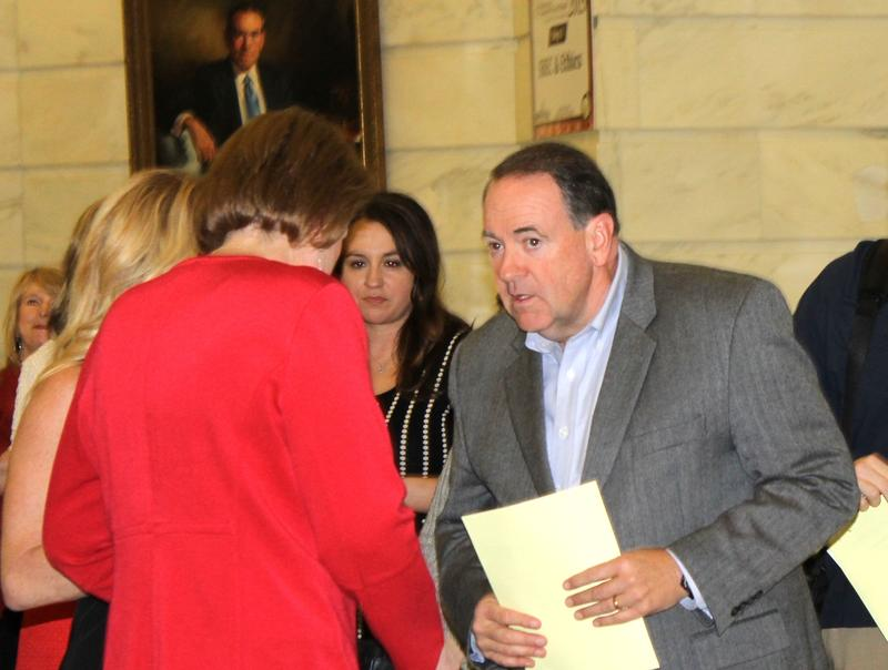 File photo of former Arkansas Gov. Mike Huckabee filing to run for president at the Arkansas State Capitol on Nov. 2, 2015.