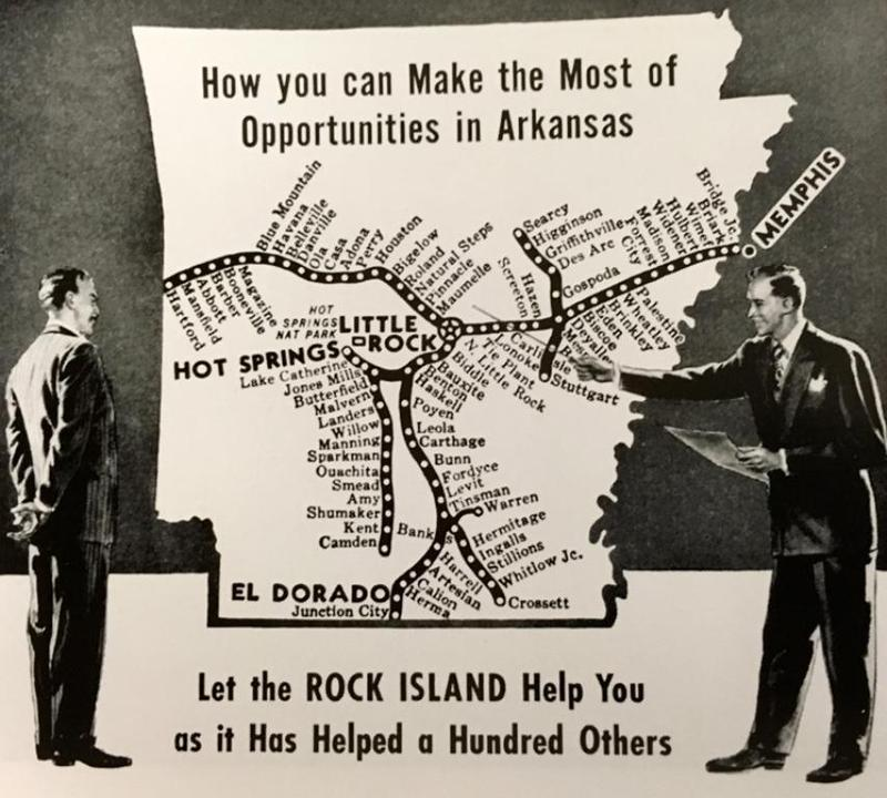 An advertisement for the railroad showing communities served by the Rock Island
