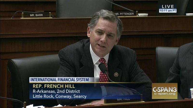 U.S. Rep. French Hill speaking at a meeting of the House Financial Services Committee on March 22, 2016.