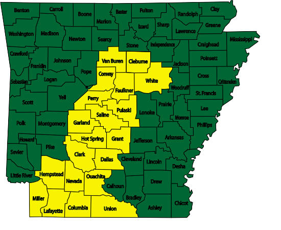 "Counties in yellow are under ""moderate"" danger for wildfires as of July 2."