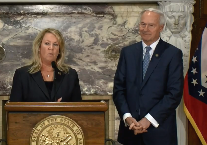 Aerojet Rocketdyne CEO Eileen Drake with Arkansas Gov. Asa Hutchinson at Wednesday's announcement that the company will be expanding its south Arkansas facility.