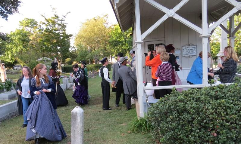 Students prepare for a previous presentation of Tales of the Crypt at Little Rock's historic Mount Holly Cemetery.